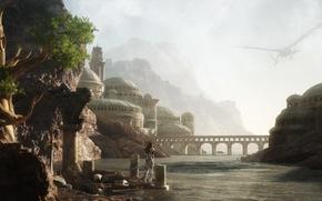 Картинка девушка, пейзаж, мост, город, река, скалы, арки, рендер, летательный аппарат