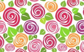 Картинка рисунок, розы, вектор, текстура, арт, бутоны