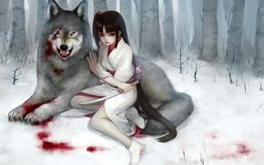 Картинка лес, девушка, снег, кровь, волк, кинжал, кимоно, шрам, рана, fukawa