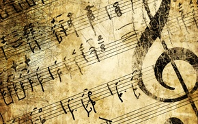 Обои инструмент, ретро, ключ, бежевый, фон, искусство, сепия, гранж, мелодия, старые страницы бумаги