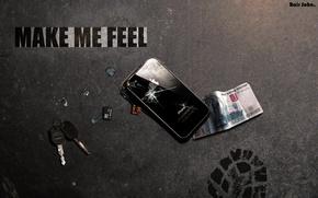 Обои асфальт, iPhone, удар, ключи, MAKE ME FEEL, 1000 рублей, флэшка