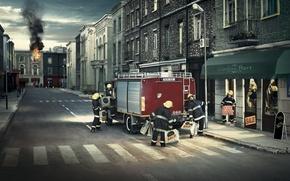 Картинка город, огонь, дома, распродажа, пожарники, пожарная машина