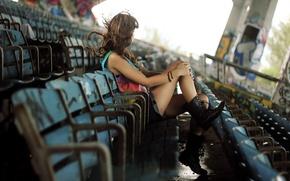 Обои стадион, настроение, девушка