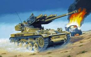 Картинка war, art, painting, tank, AMX 13/75