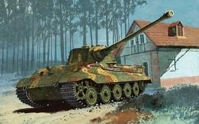 Картинка war, art, painting, ww2, Kingtiger Henschel