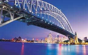 Картинка мост, город, вечер, Сидней