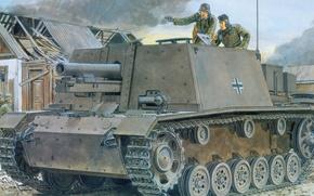 Картинка рисунок, немцы, САУ, Sturm-Infanteriegeschütz, sIG 33, Ausf.B, немецкая самоходно-артиллерийская установка, StuIG 33B
