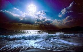 Картинка море, волны, небо, облака, пейзаж, ночь, природа, океан, Луна, waves, moon, лунный свет, sky, sea, ...