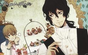 Картинка Алиса, сахар, парни, пирожные, Alice, сладкое, Шляпник, Mad Hatter, А ты Алиса?, Are you Alice?