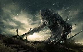 Картинка небо, звезды, ночь, робот, мальчик, арт, mauve, noeyebrow