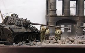 Обои руины, Panther, моделька, солдаты, танк, тяжёлый, игрушка