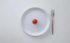 Обои вилка, тарелка, помидор