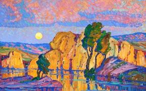Обои картина, Луна, Wild Horse Creek, Late Moon Rising, Birger Sandzen, деревья, озеро, небо, скалы, пейзаж