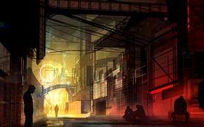Картинка свет, город, люди, улица, арт