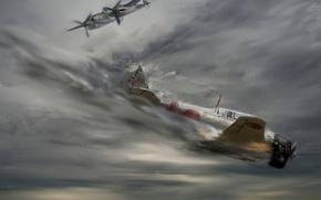 Картинка война, рисунок, арт, битва, самолёты