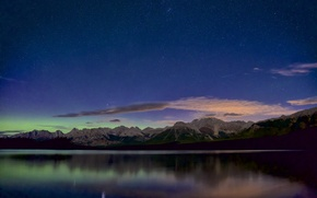 Картинка небо, звезды, пейзаж, горы, панорама, водоем