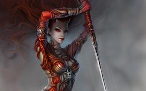 Картинка девушка, оружие, арт, рога, копье, красные глаза, демоница