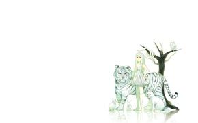 Картинка звери, минимализм, аниме, арт, девочка