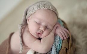 Обои спокойствие, ребенок, сон, малыш, шапочка, младенец