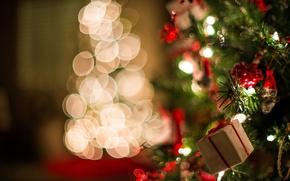Обои подарок, Christmas, свет, новый год, елка, боке