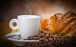 Картинка кофе, зерна, чашка, белая, напиток, сдоба, круассан