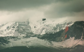 Обои снег, горы, Обработка
