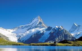 Картинка небо, вода, снег, горы, озеро, Обои