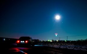 Картинка ночь, луна, звезда, звёзды, mercedes, полнолуние, mercedes-benz, мерседес, мерин, мерс, benz, 190, w201, 190e