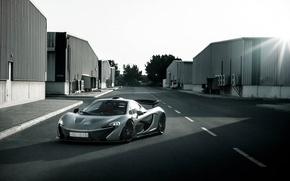 Картинка McLaren, Power, Front, Sun, Road, Supercar, Silver, Spoiler