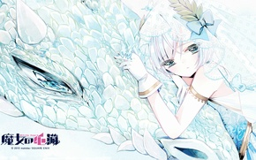 Картинка бабочки, дракон, чешуя, перчатки, голубые глаза, невеста, фата, Witch`s heart