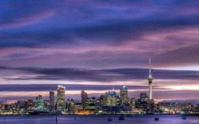 Картинка небоскребы, city, город, огни, сумерки, sky, skyscrapers, оклендская башня, harbour, sky tower, Окленд, city center, ...