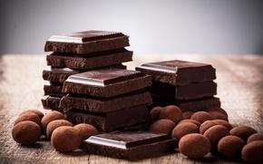 Картинка еда, шоколад, конфеты, сладости, десерт, дольки, сладкое