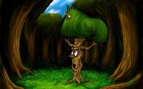 Картинка дерево, рисунок, сказка, белка