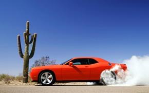 Обои дым, красная машина, Dodge Challenger
