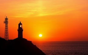 Обои море, солнце, маяк, ничего общего с вов и второй мировой