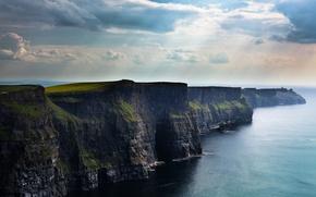 Обои Ирландия, морская пучина, утесы, The Cliffs, облака, скалы, обрыв