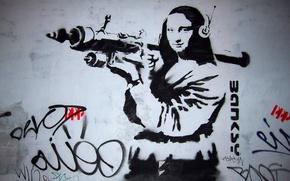 Картинка граффити, гранатомёт, Мона Лиза