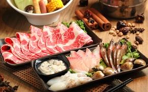 Картинка блюда, кальмары, ассорти, японская кухня, мясо, бадьян, креветки, моллюски, морепродукты, специи, рыба, корица