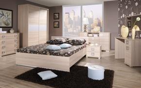 Обои дизайн, город, стиль, комната, интерьер, мегаполис, спальня
