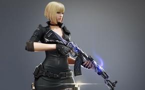 Картинка game, Crossfire, ammunition, belt of ammunition, militar, murderous, radio communicator, 7.62, dangerous, woman, girl, machete, ...