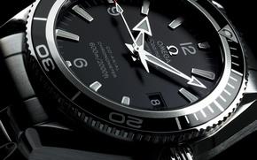 Картинка часы, Omega, черно белая, Planet Ocean