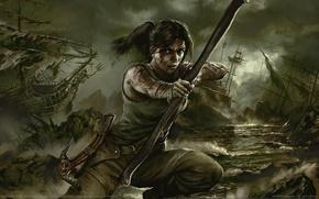 Картинка оружие, корабли, лук, Tomb Raider, Лара Крофт, стрелы, game wallpapers, Lara Croft, Расхитительница Гробниц, Tomb …