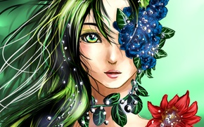 Картинка глаза, взгляд, листья, девушка, лицо, аниме, арт, волосы. цветы