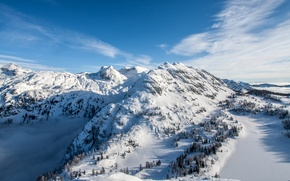 Обои горы, зима, снег, солнце, панорама