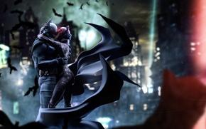 Обои dc comics, костюм, catwoman, ночь, batman, город