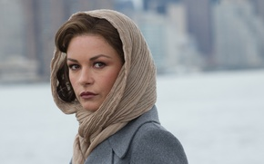 Картинка взгляд, размытие, кадр, платок, пальто, Кэтрин Зета-Джонс, Catherine Zeta-Jones, Город порока, Broken City