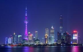Обои огни, Китай, башня, ночь, дома, Шанхай