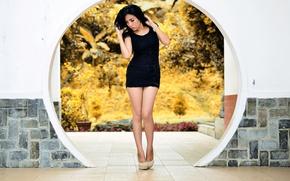 Картинка девушка, брюнетка, ножки, азиатка, мини-платье