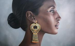 Картинка женщина, портрет, фараон, серьга, египет, hatshepsut, Хатшепсут