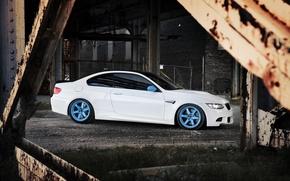 Картинка белый, мост, город, бмв, BMW, white, E92, IND, металлические опоры
